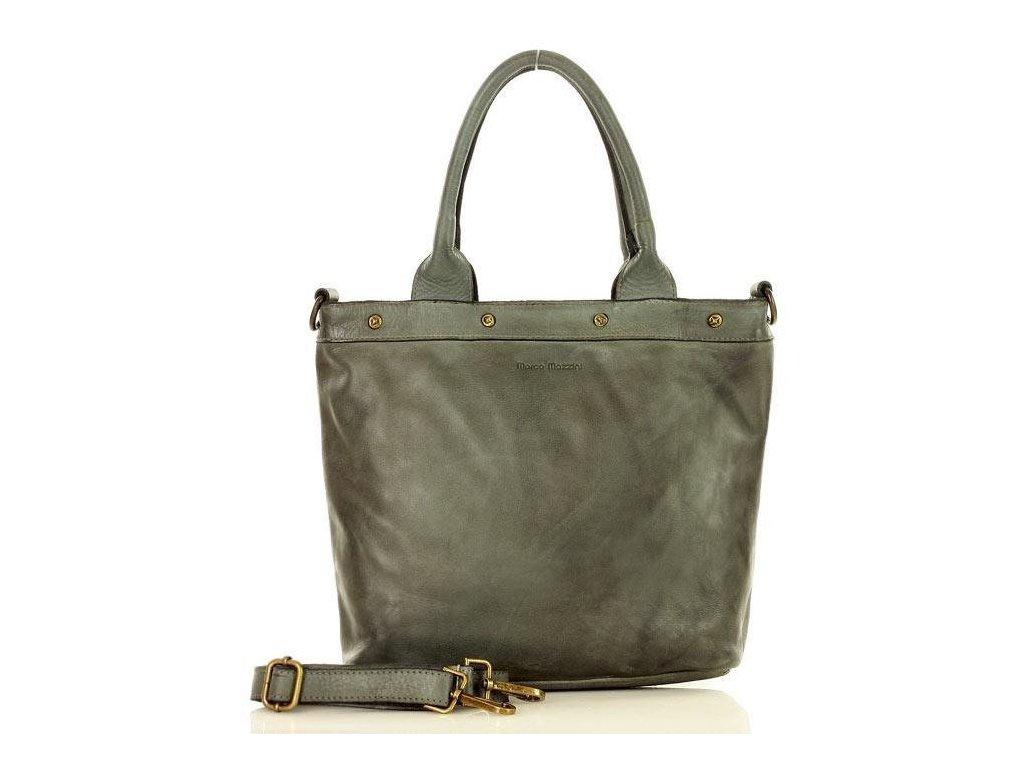 MARCO MAZZINI Vintage kabelka z pravé kůže; šedá