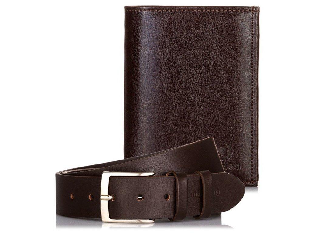 DÁRKOVÁ SADA: Značková pánská peněženka a kožený opasek; hnědá