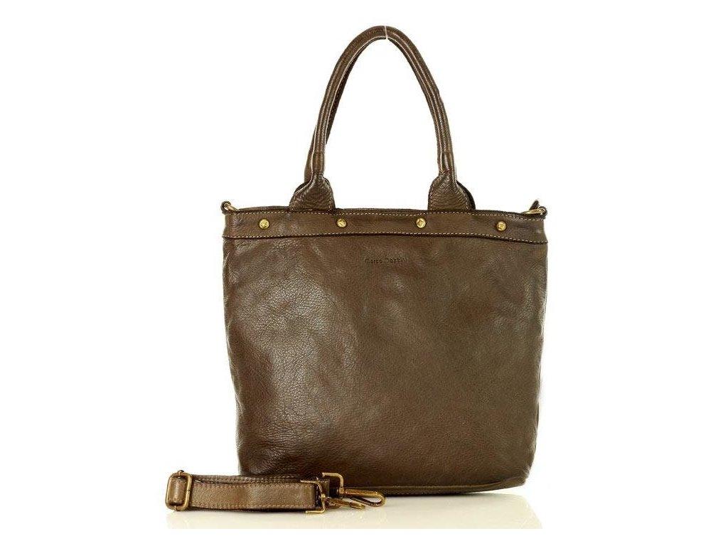 MARCO MAZZINI Vintage kabelka z pravé kůže; khaki