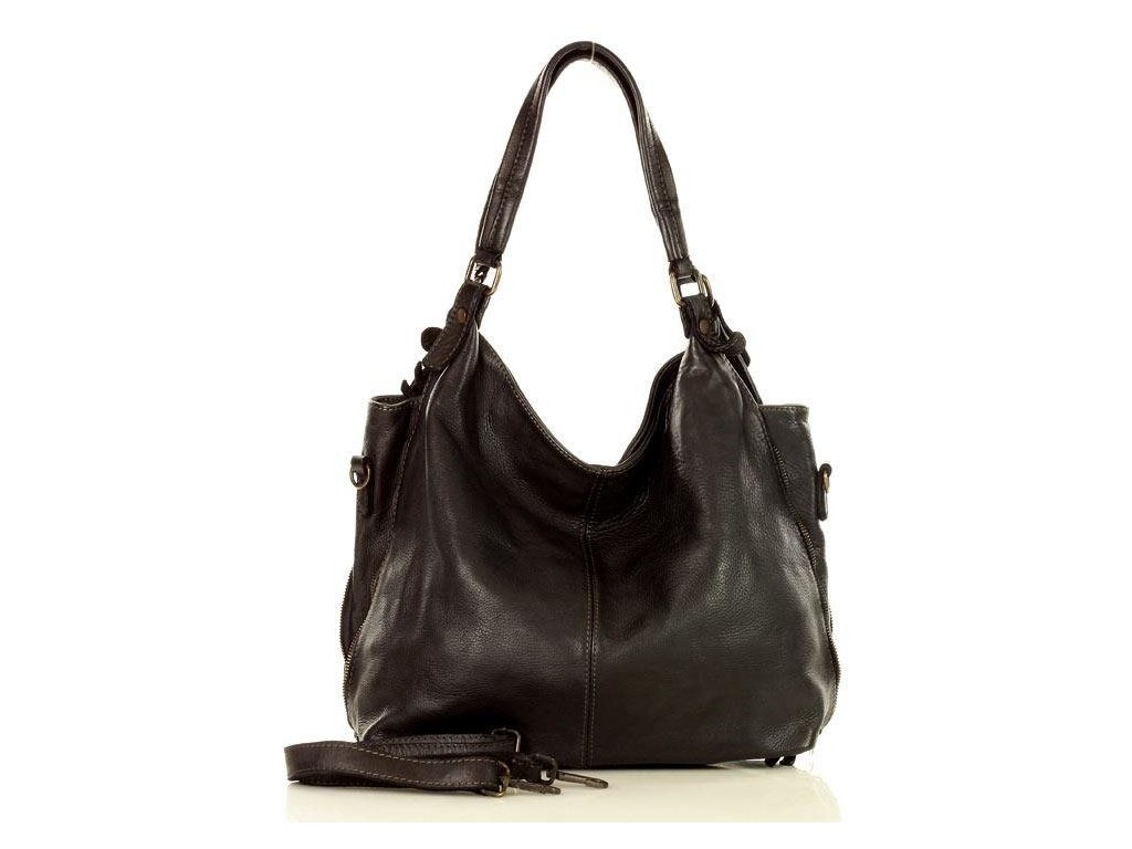 MARCO MAZZINI Kožená kabelka Shopper; černá