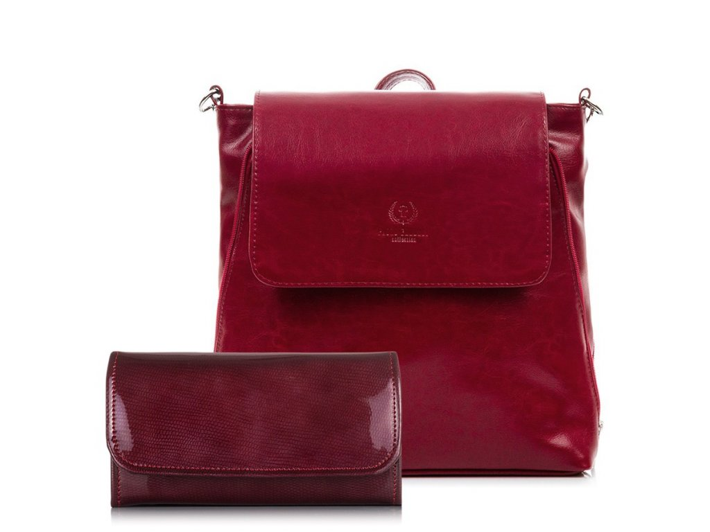 DÁRKOVÁ SADA: Značková dámská peněženka a kožená kabelka; červená