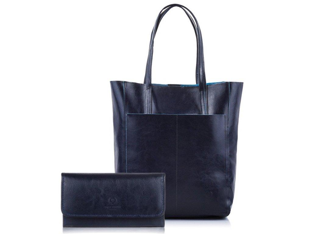 DÁRKOVÁ SADA: Značková dámská peněženka a kožená kabelka; modrá