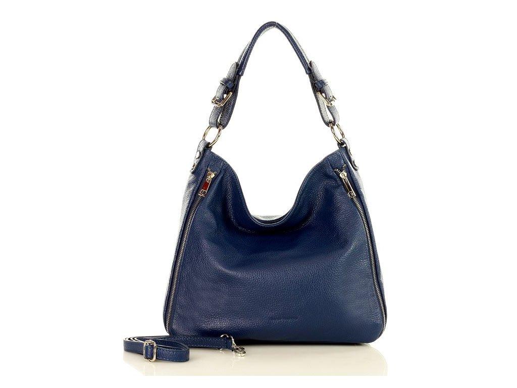 Elegantní italská kožená taška MAZZINI přes rameno; modrá