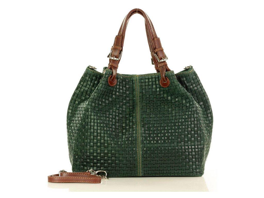 Italská kožená taška MAZZINI GIULIA; tmavě zelená