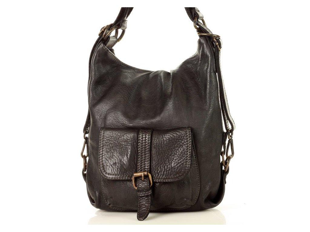 Italská kožená kabelka i batoh MAZZINI; černá