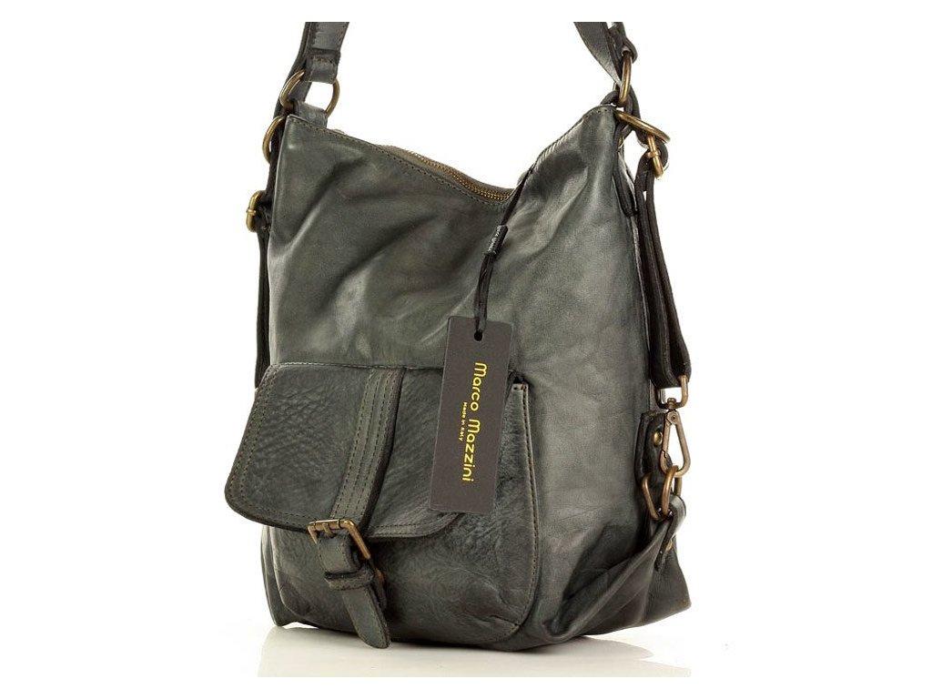 Italská kožená kabelka i batoh MAZZINI; šedá