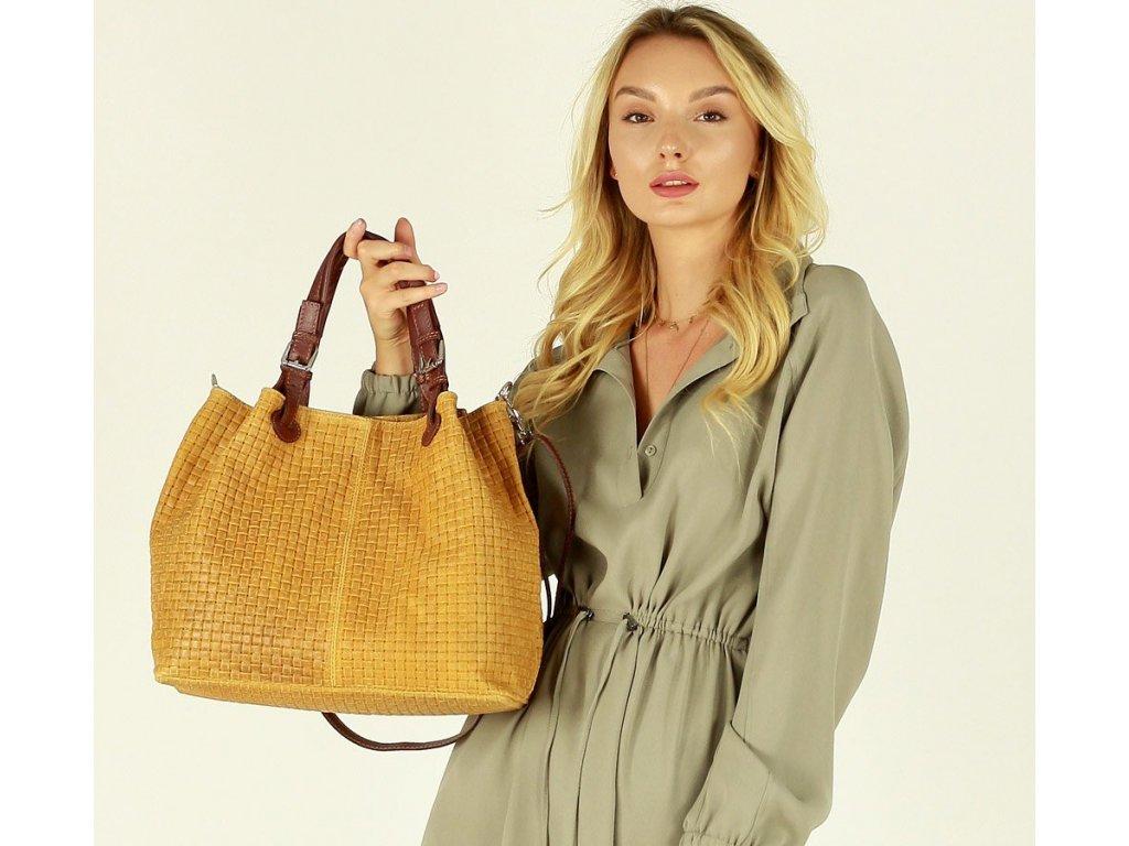 Italská kožená taška MAZZINI GIULIA; karamelová