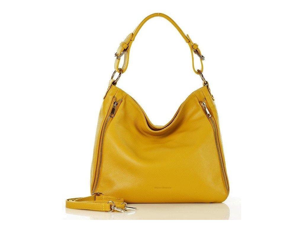 Elegantní italská kožená taška MAZZINI přes rameno; žlutá