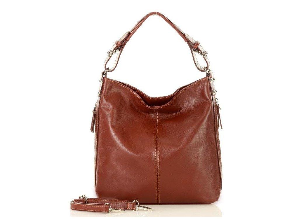Elegantní italská taška MAZZINI přes rameno; mandlová