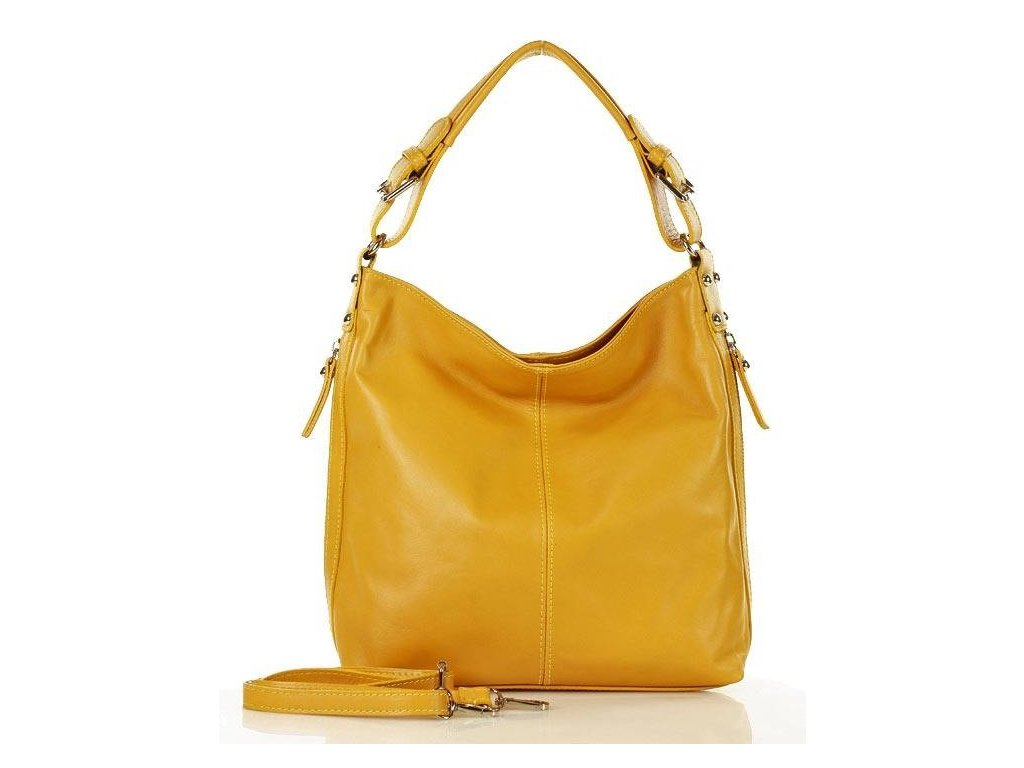 Elegantní italská taška MAZZINI přes rameno; žlutá
