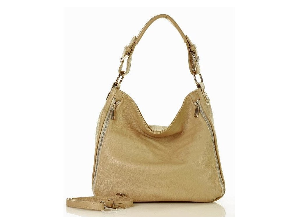 Elegantní italská kožená taška MAZZINI přes rameno; béžová