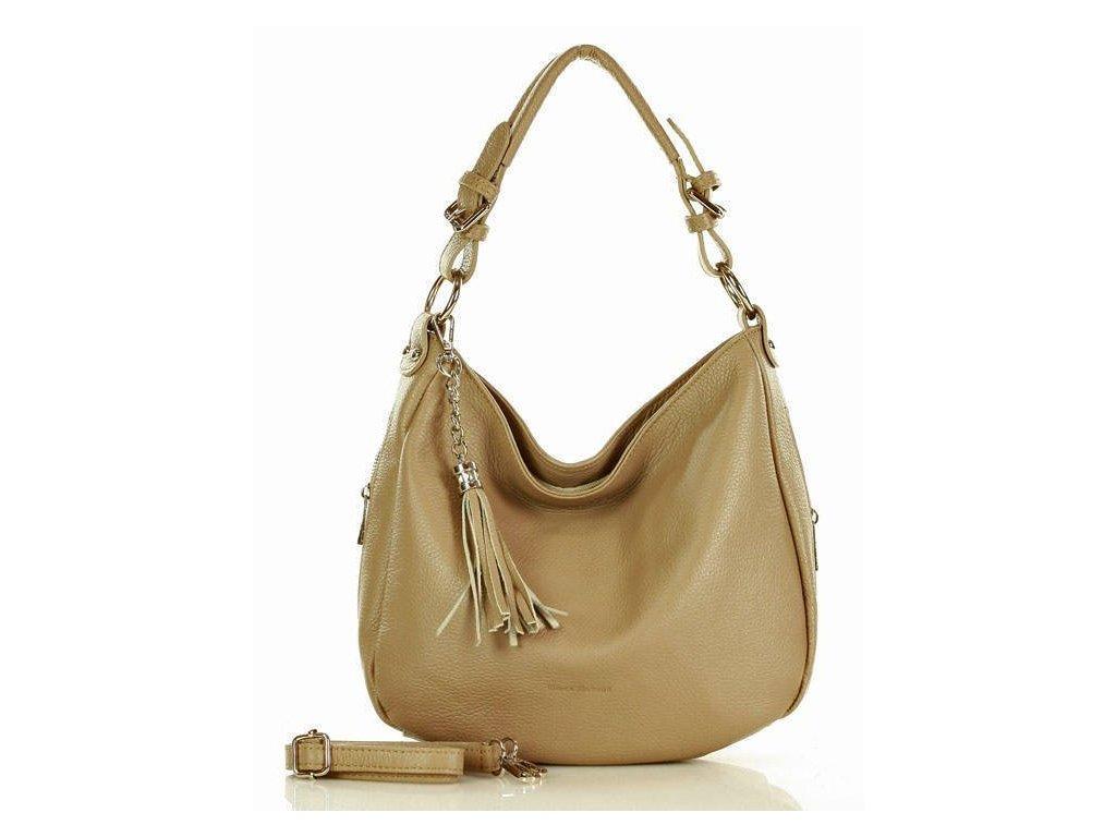 Elegantní městská kožená taška MAZZINI; béžová