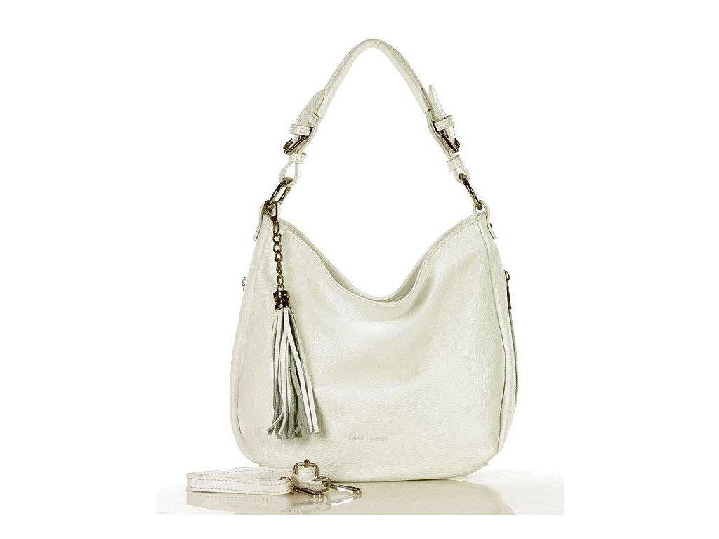 Elegantní městská kožená taška MAZZINI; bílá