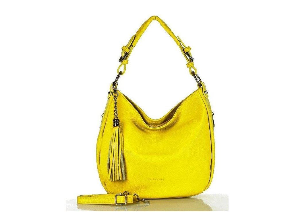Elegantní městská kožená taška MAZZINI; žlutá