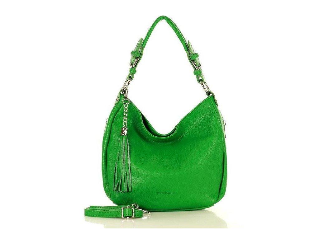 Elegantní městská kožená taška MAZZINI; zelená