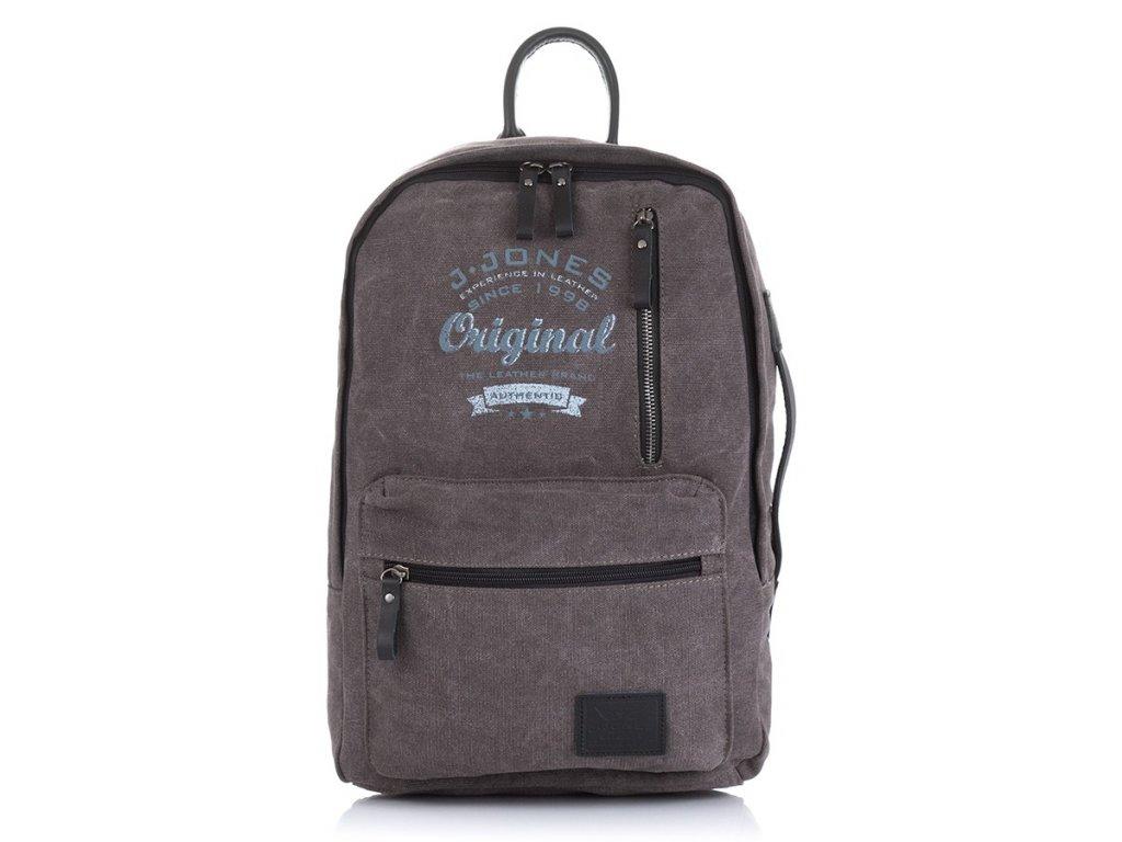 Látkový městský batoh na notebook; šedý