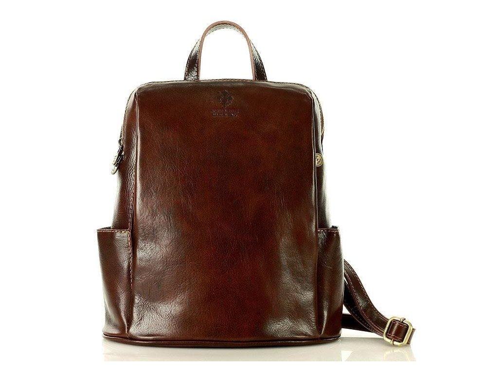 MARCO MAZZINI Elegantní kožený batoh TOMPANATO; tmavě hnědá
