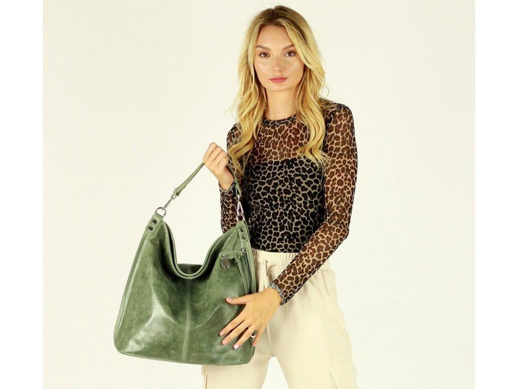 Italská nadčasová stylová kabelka kožená; pistáciová