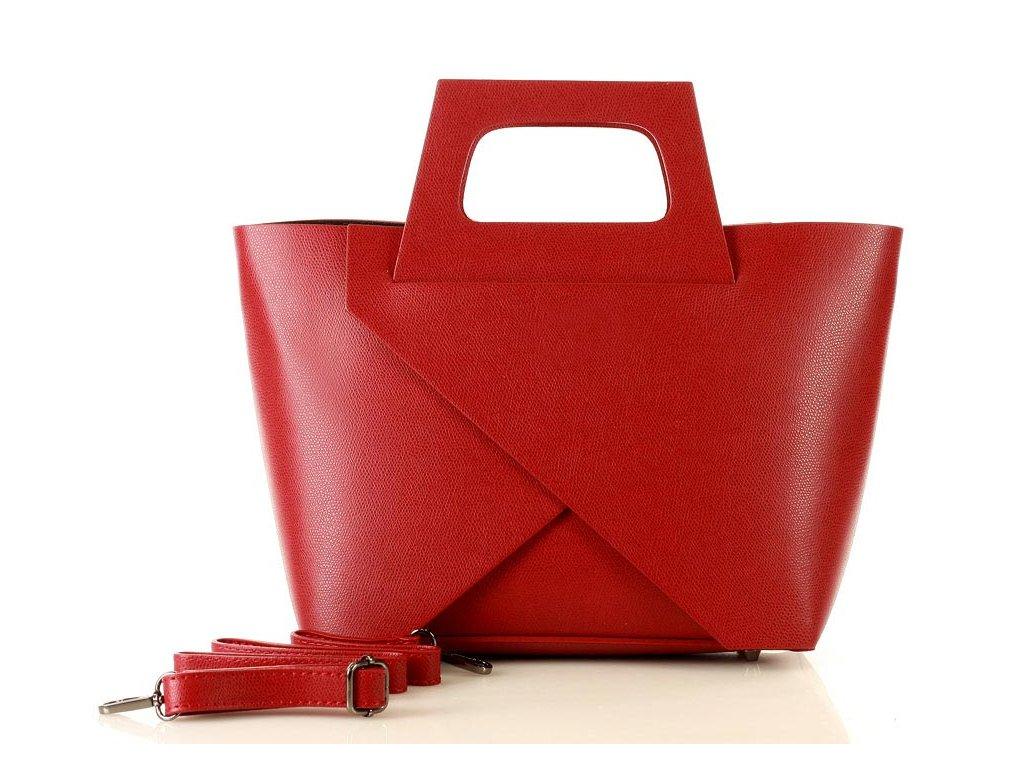 Originální kabelka MARCO MAZZINI shopper košík; malinová červená