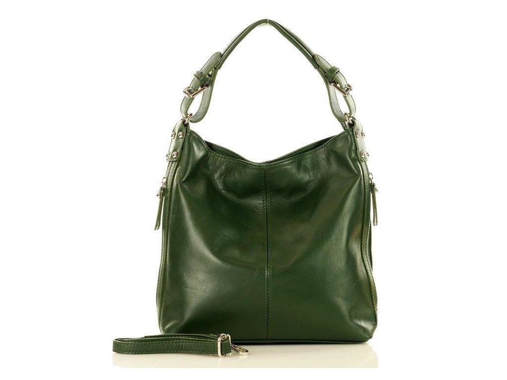 Elegantní italská taška MAZZINI přes rameno; tmavě zelená