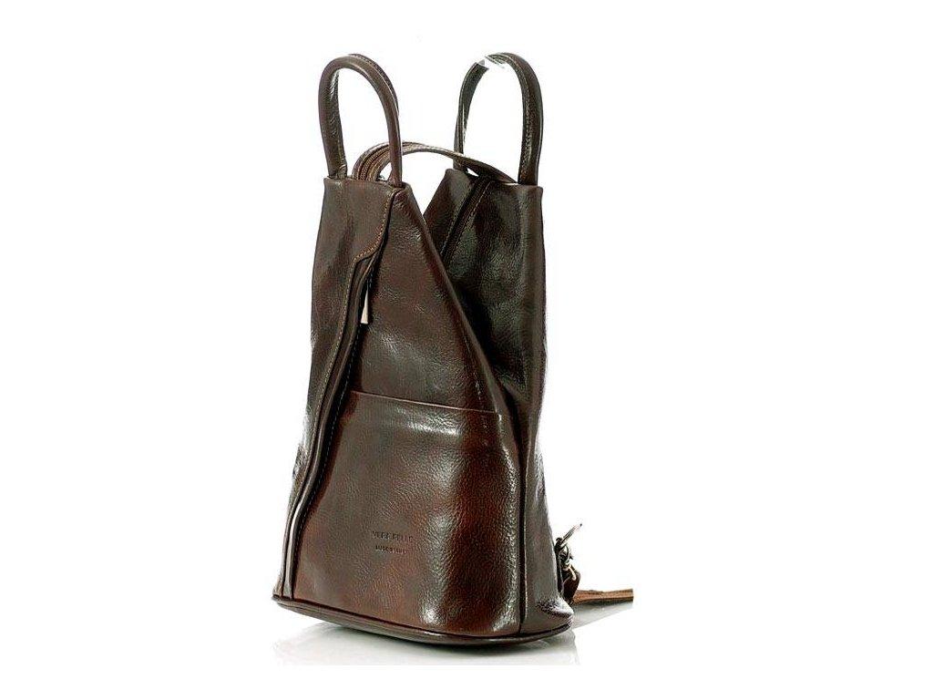 Módní dámský batoh MODENA klasický; tmavě hnědá