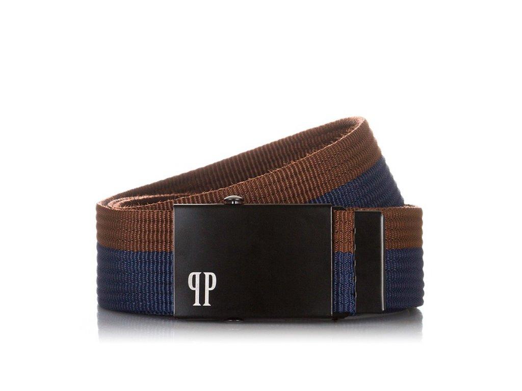 Stylový pánský textilní pásek PAOLO PERUZZI; modro-hnědá