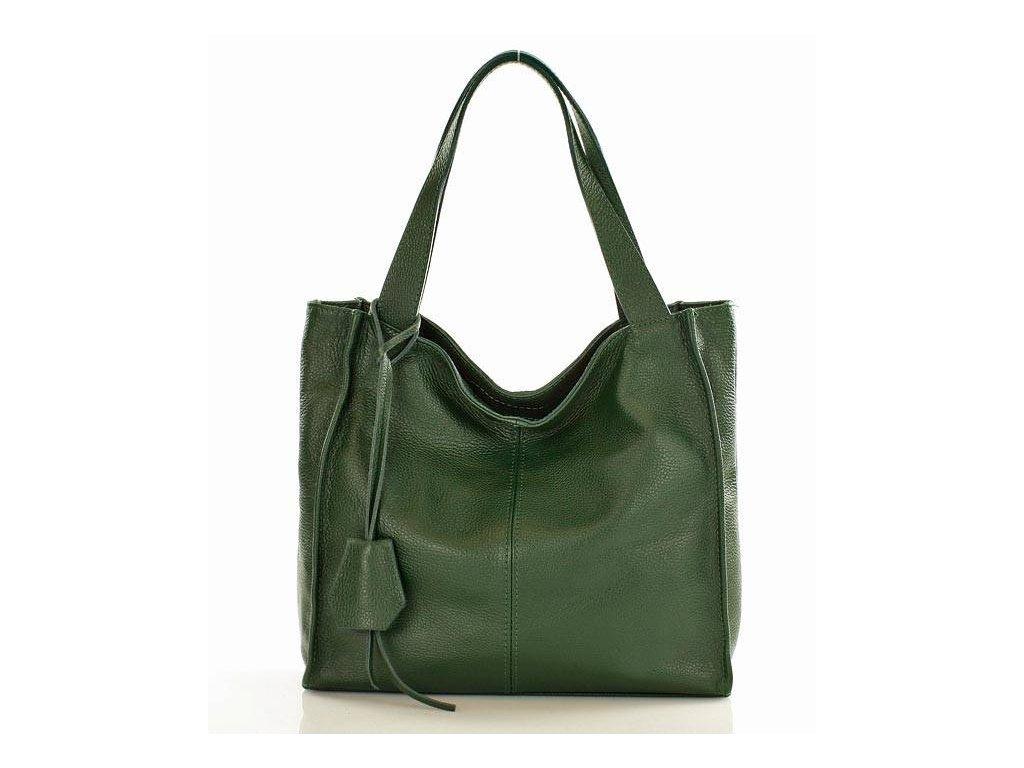 Módní italská kožená kabelka shopper MAZZINI; zelená