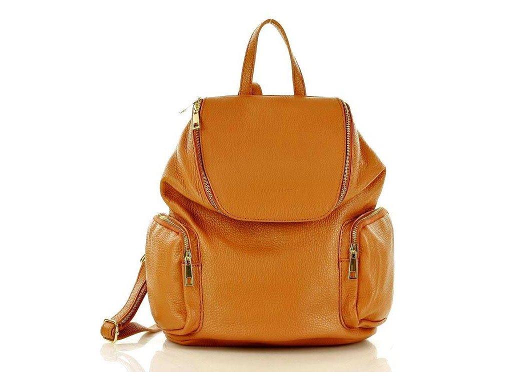 Módní batoh s kapsami MAZZINI kůže; hnědá
