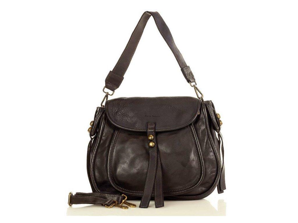 Marco Mazzini Klasická sedlová taška z pravé kůže; černá