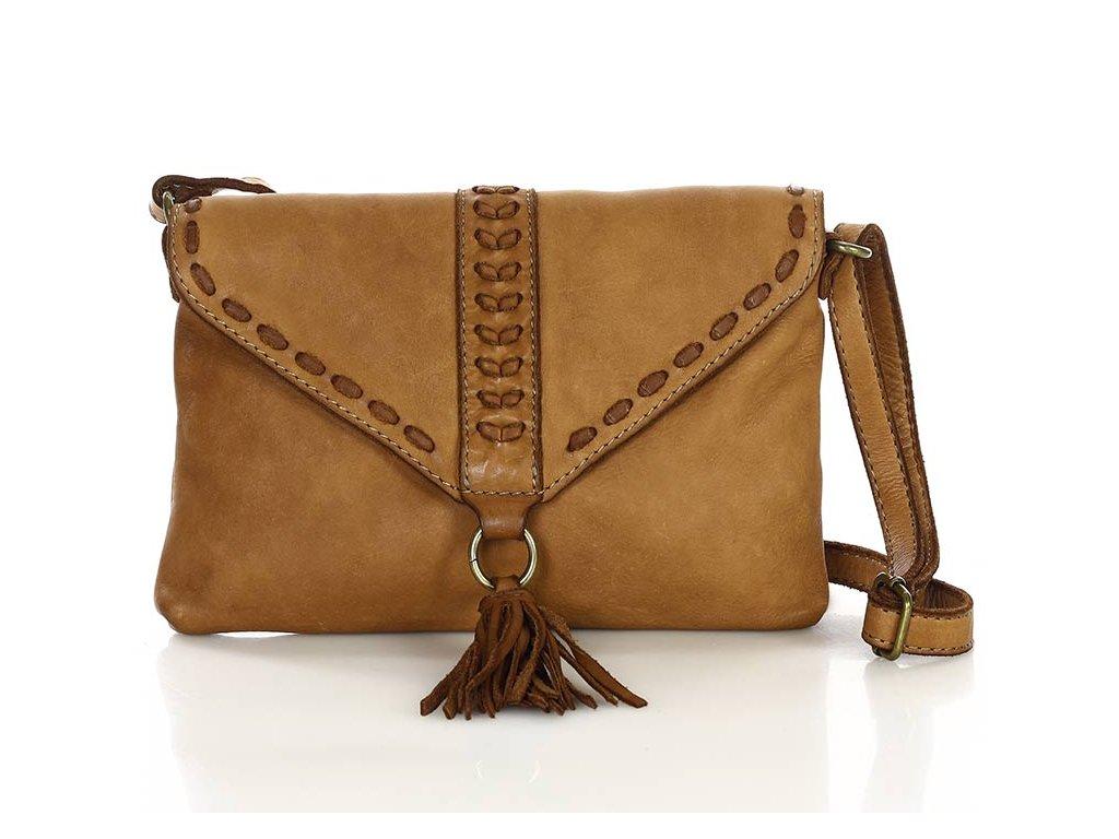 Italská kožená taška z pravé kůže MAZZINI; hnědá