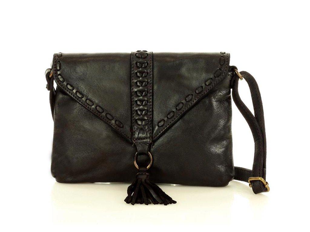 Italská kožená taška z pravé kůže MAZZINI; černá