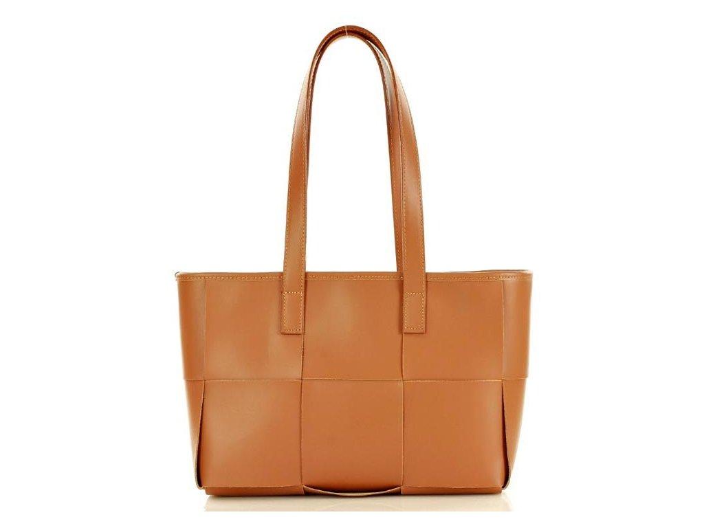 Elegantní kožená kabelka přes rameno Marco Mazzini; hnědá