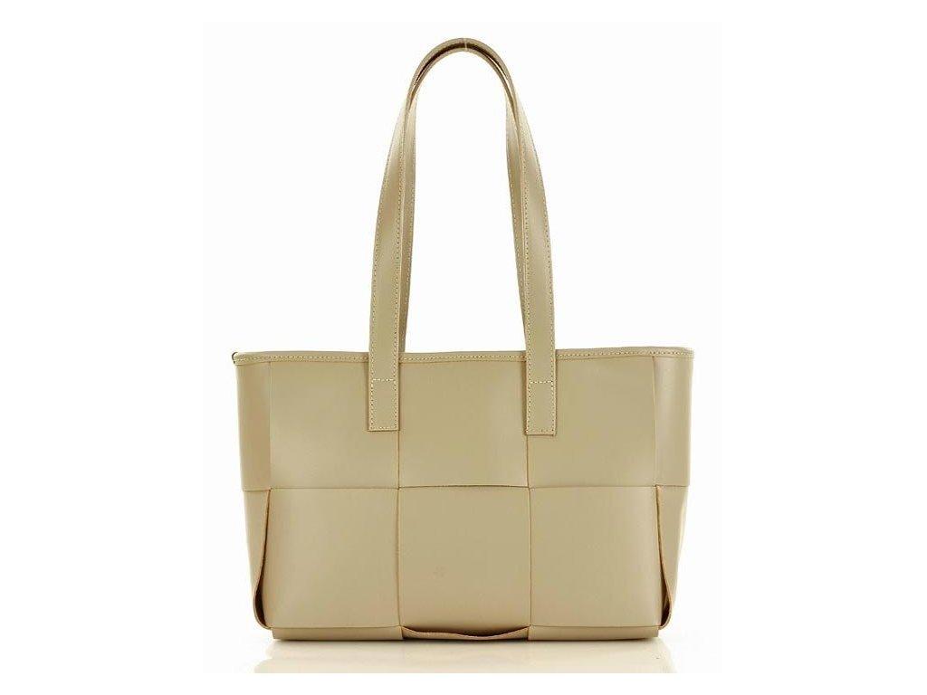 Elegantní kožená kabelka přes rameno Marco Mazzini; béžová