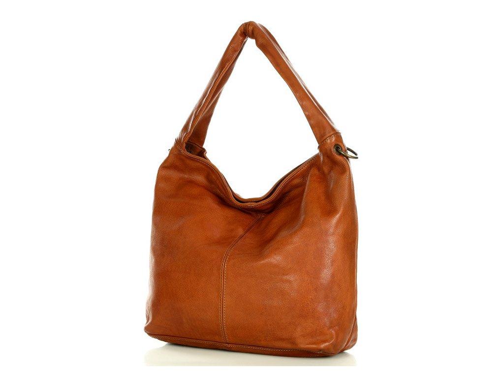 Italská kabelka Mazzini SACCO vintage kožená; hnědá