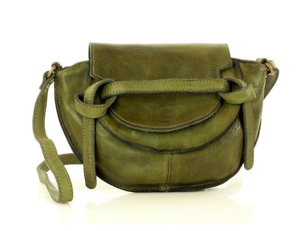 Crossbody z pravé kůže Vintage styl Mazzini; zelená