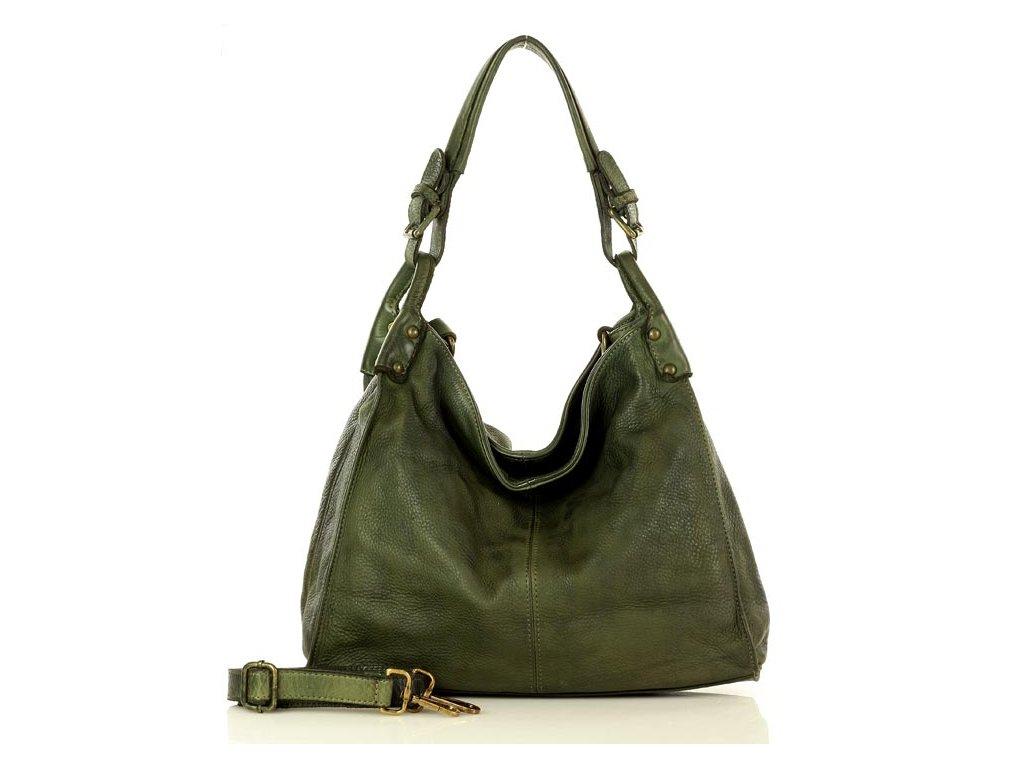 Klasická kabelka z přírodní kůže MAZZINI Vintage; zelená