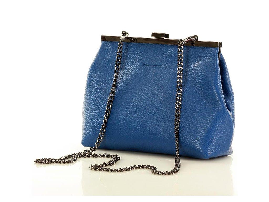 Kožená formální kabelka Marco Mazzini s řetízkem; modrá