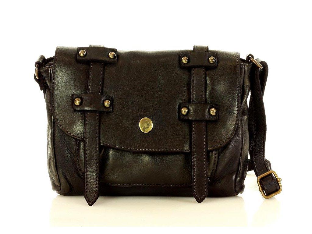 Oxfordská menší kabelka z kůže MAZZINI; černá