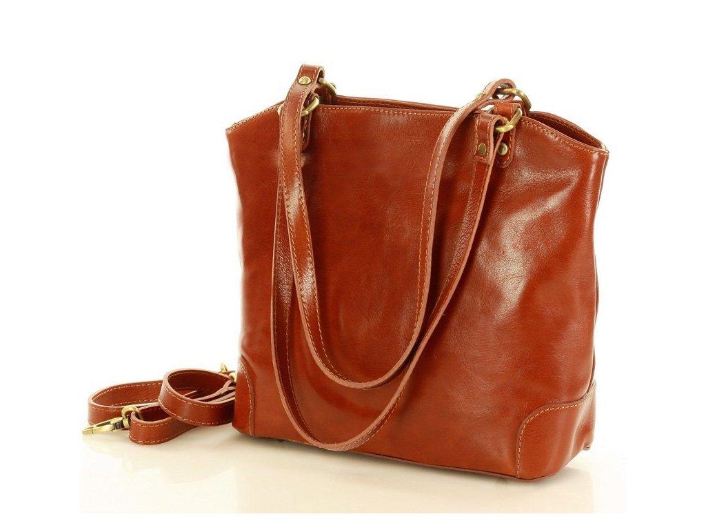 Kožená nákupní taška MAZZINI na rameno; velbloud