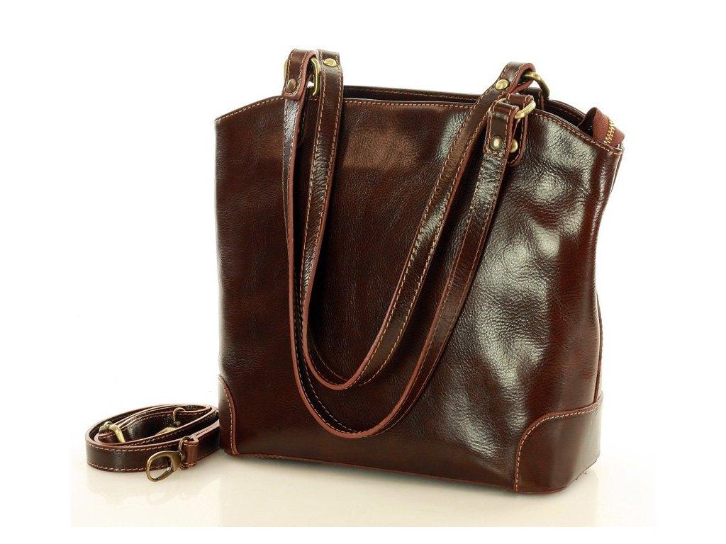 Kožená nákupní taška MAZZINI na rameno; hnědá