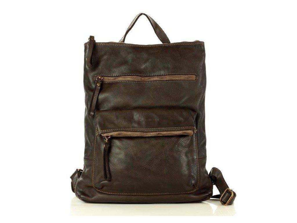 Italský kožený retro batoh Mazzini; hnědá káva