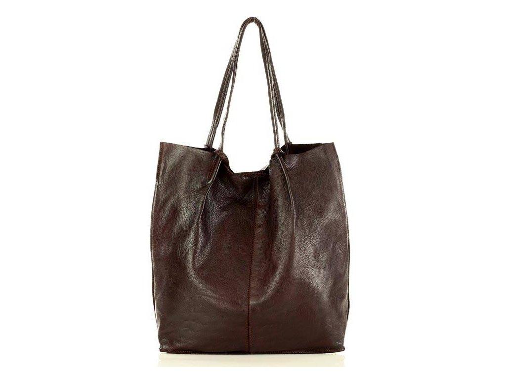 Kožená nákupní taška MAZZINI Vintage; burgundy