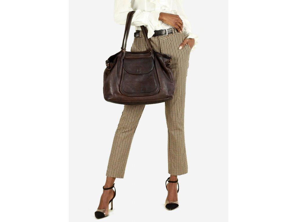 Italská kožená nákupní taška MAZZINI ISPIRATO; hnědá káva