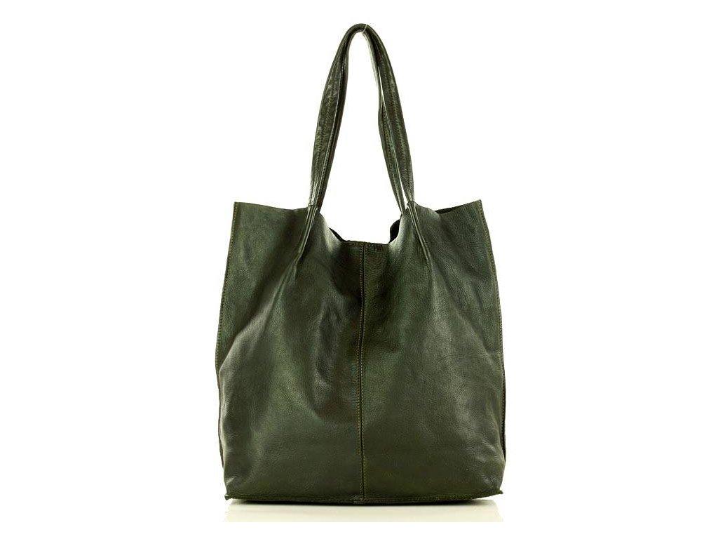 Kožená nákupní taška MAZZINI Vintage; zelená