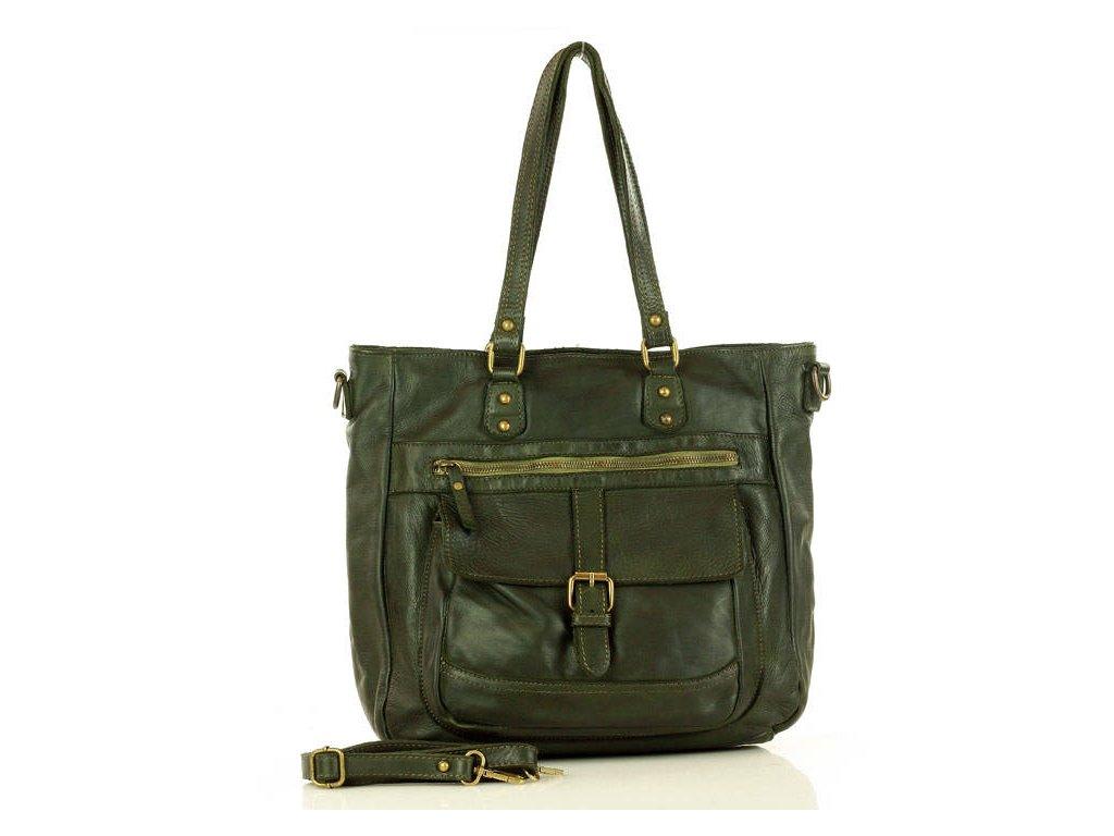 Kožená italská kabelka Mazzini TOSCCA; zelená
