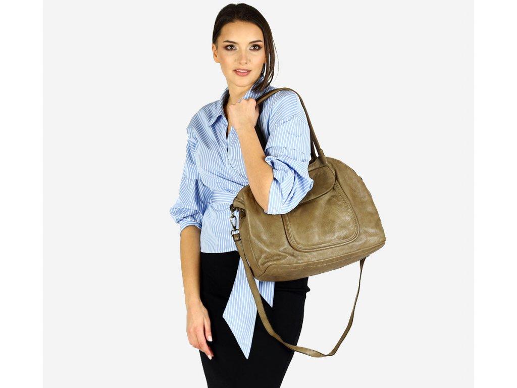 Italská kožená nákupní taška MAZZINI ISPIRATO; tmavě béžová
