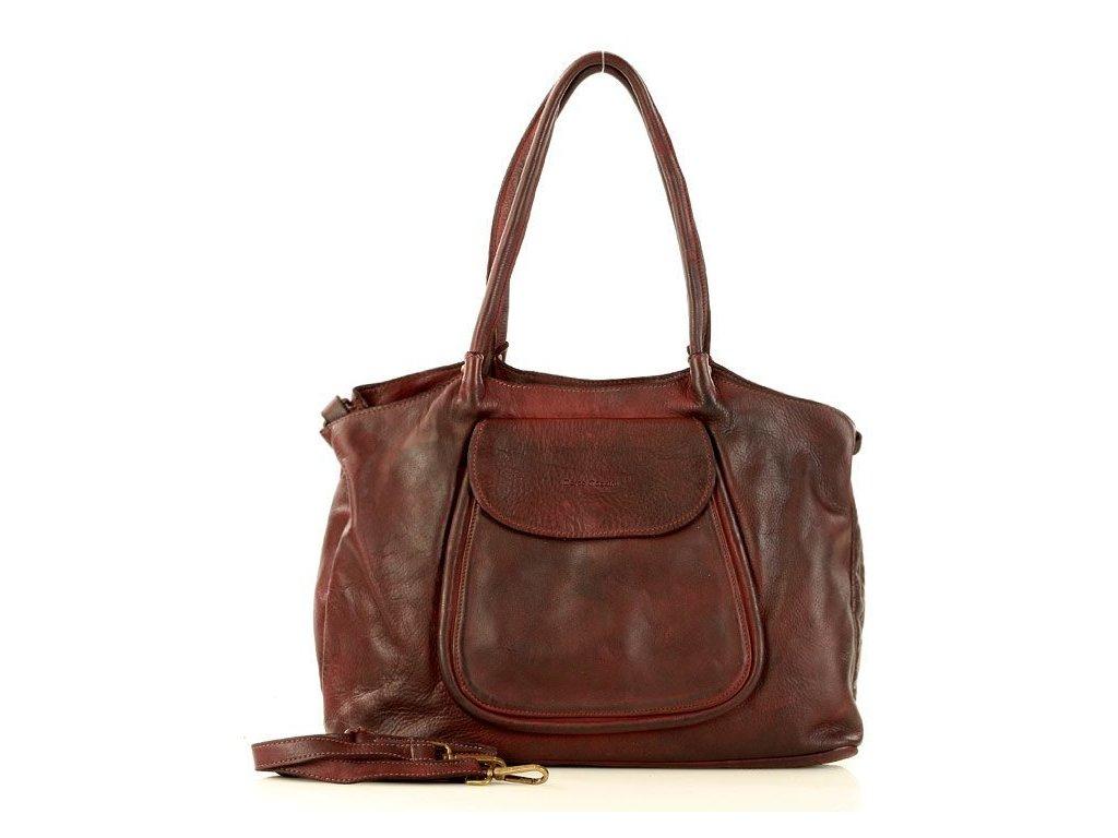 Italská kožená nákupní taška MAZZINI ISPIRATO; burgundy
