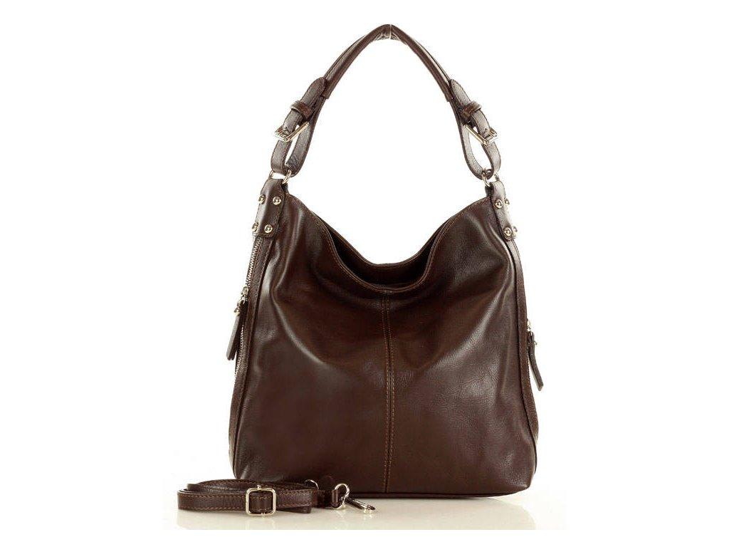Elegantní italská taška MAZZINI přes rameno; hnědá káva