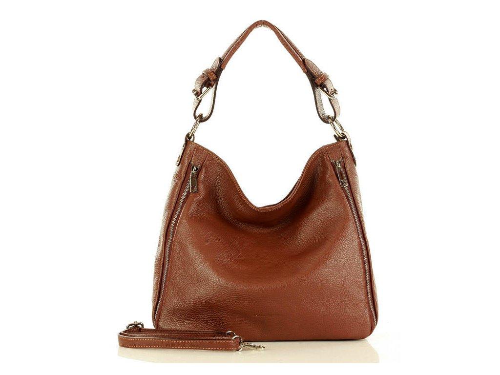 Elegantní italská kožená taška MAZZINI přes rameno; mandlová