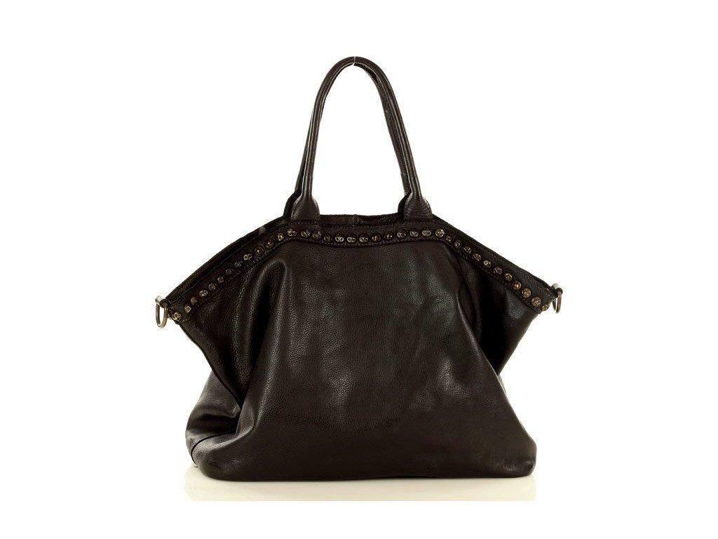 Velká kožená shopper kabelka Marco Mazzini; černá
